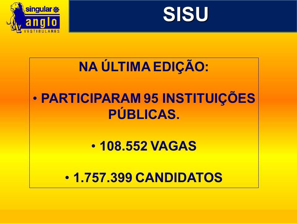 SISU NA ÚLTIMA EDIÇÃO: PARTICIPARAM 95 INSTITUIÇÕES PÚBLICAS. 108.552 VAGAS 1.757.399 CANDIDATOS