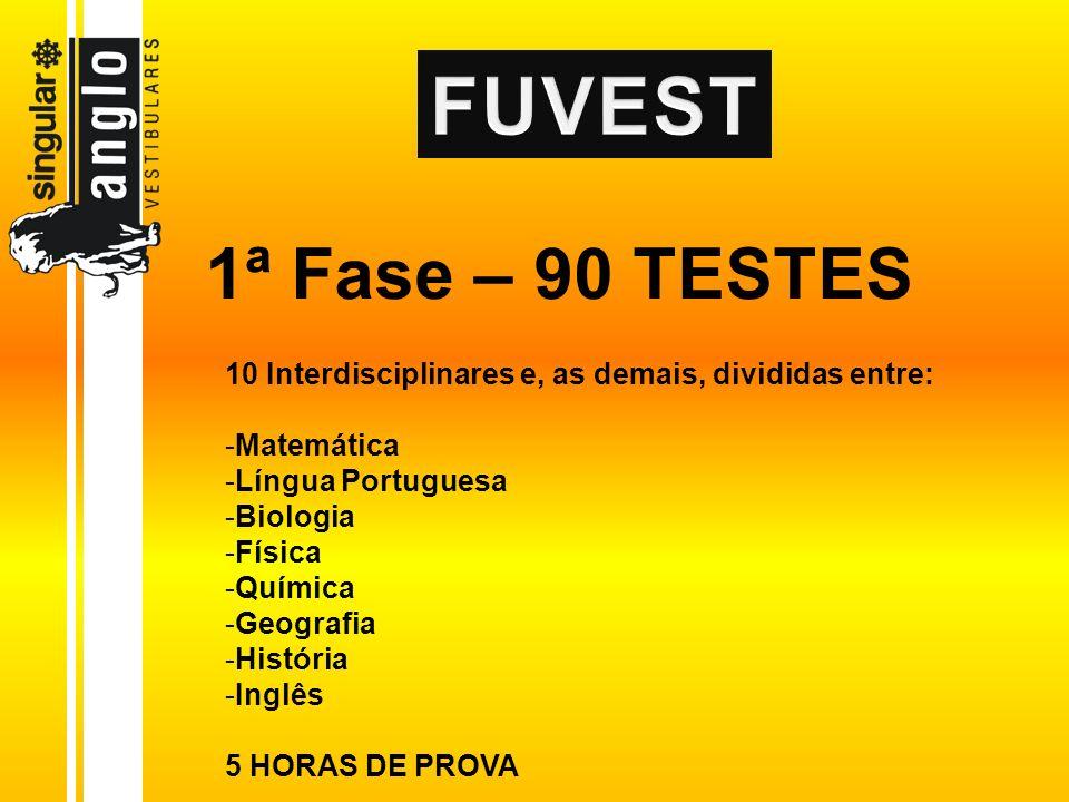 1ª Fase – 90 TESTES 10 Interdisciplinares e, as demais, divididas entre: -Matemática -Língua Portuguesa -Biologia -Física -Química -Geografia -Históri