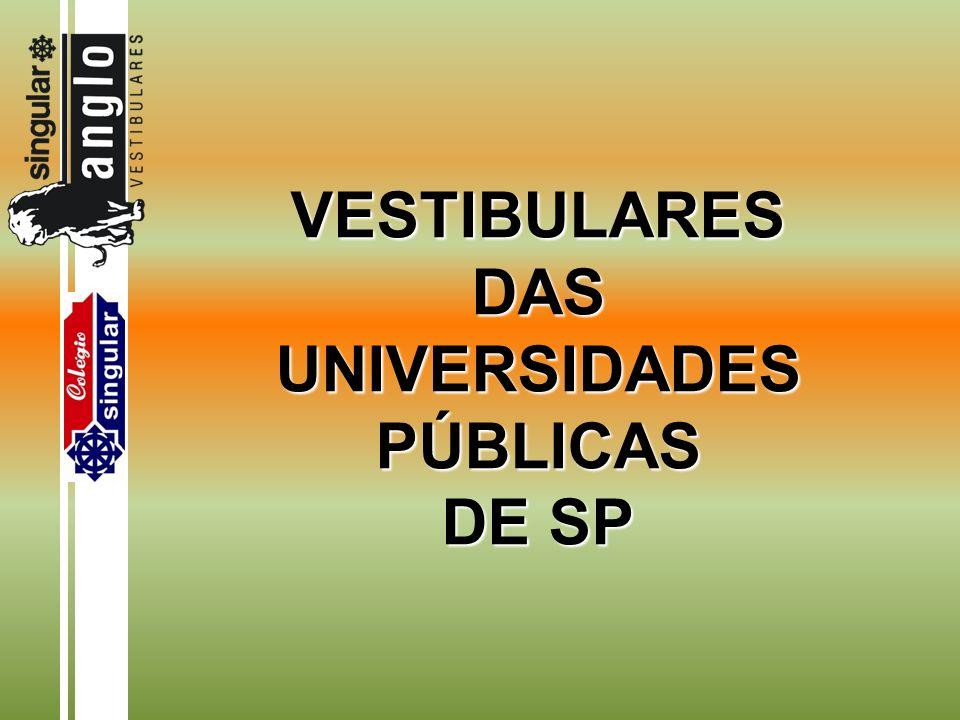 VESTIBULARES DAS UNIVERSIDADES PÚBLICAS DE SP