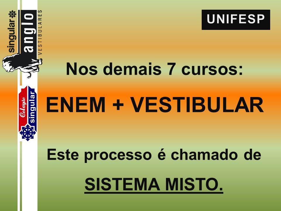 Nos demais 7 cursos: ENEM + VESTIBULAR Este processo é chamado de SISTEMA MISTO.