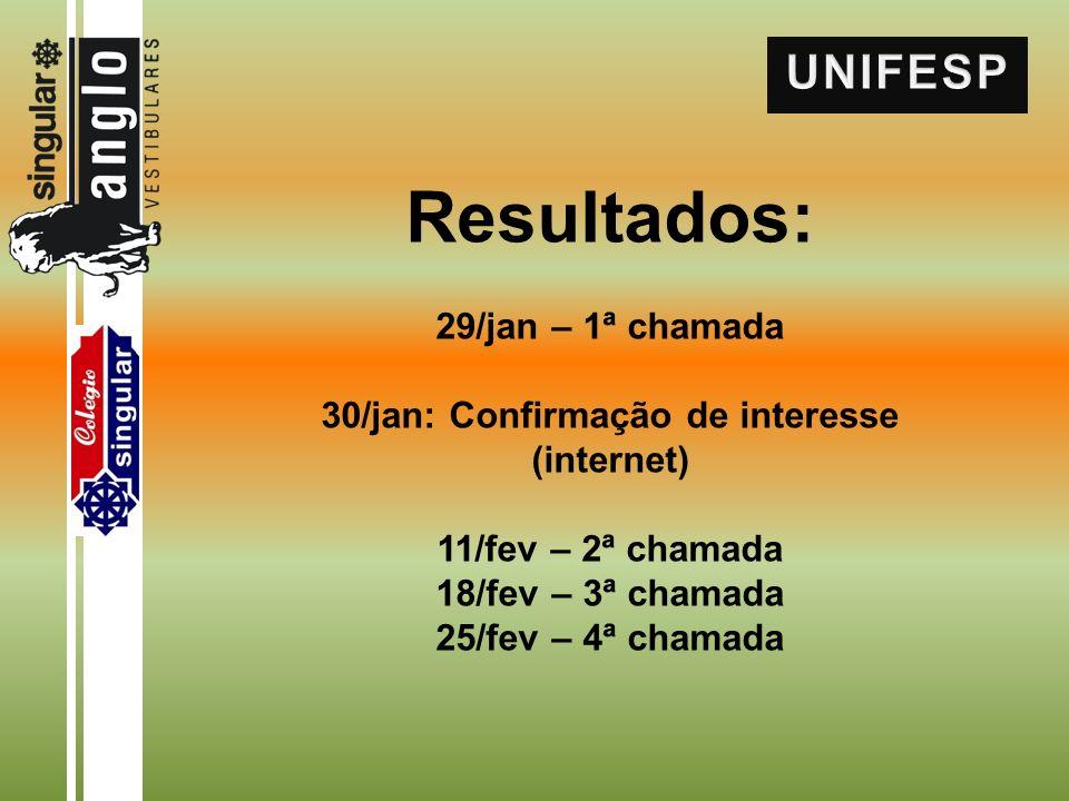 Resultados: 29/jan – 1ª chamada 30/jan: Confirmação de interesse (internet) 11/fev – 2ª chamada 18/fev – 3ª chamada 25/fev – 4ª chamada