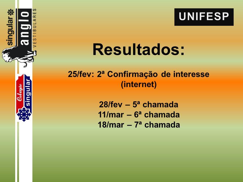 Resultados: 25/fev: 2ª Confirmação de interesse (internet) 28/fev – 5ª chamada 11/mar – 6ª chamada 18/mar – 7ª chamada