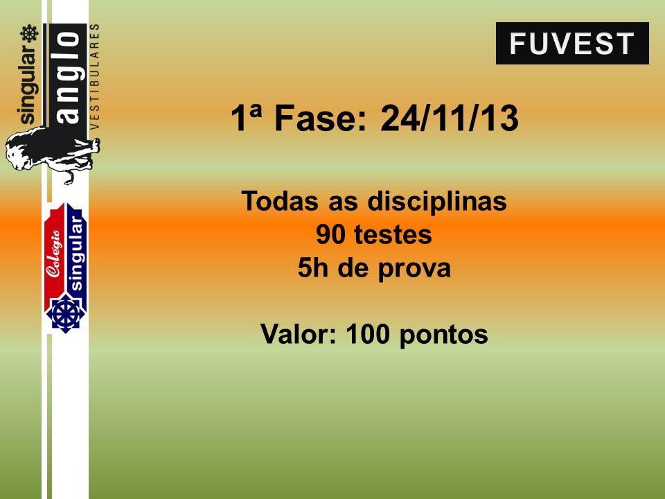 1ª Fase: 24/11/13 Todas as disciplinas 90 testes 5h de prova Valor: 100 pontos