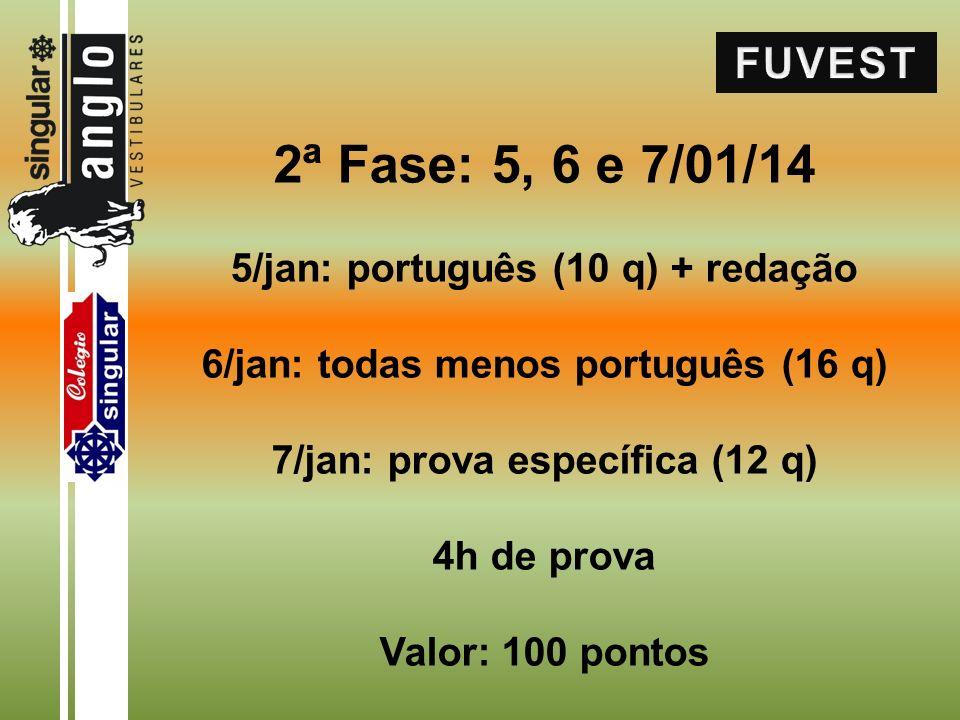 2ª Fase: 5, 6 e 7/01/14 5/jan: português (10 q) + redação 6/jan: todas menos português (16 q) 7/jan: prova específica (12 q) 4h de prova Valor: 100 pontos