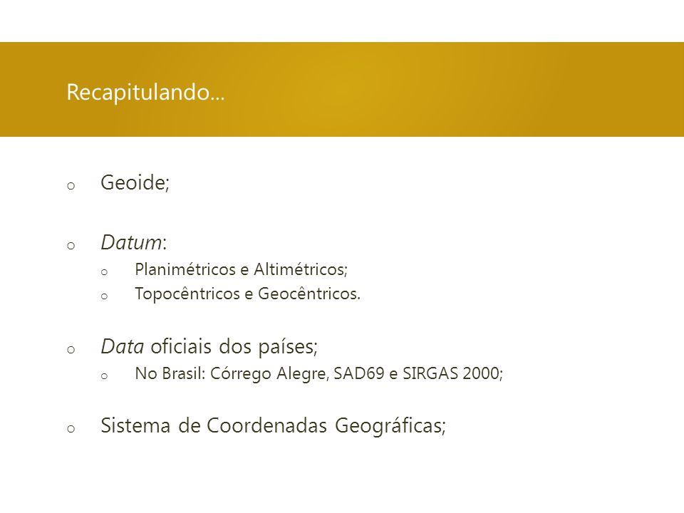 o Geoide; o Datum: o Planimétricos e Altimétricos; o Topocêntricos e Geocêntricos. o Data oficiais dos países; o No Brasil: Córrego Alegre, SAD69 e SI
