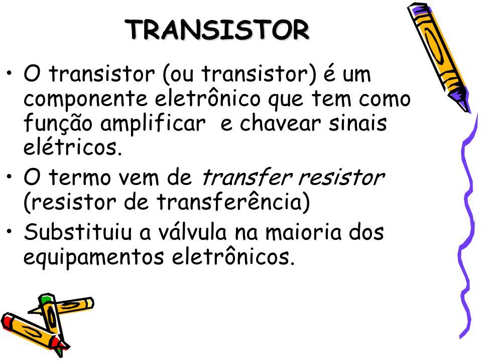 TRANSISTOR O transistor (ou transistor) é um componente eletrônico que tem como função amplificar e chavear sinais elétricos. O termo vem de transfer