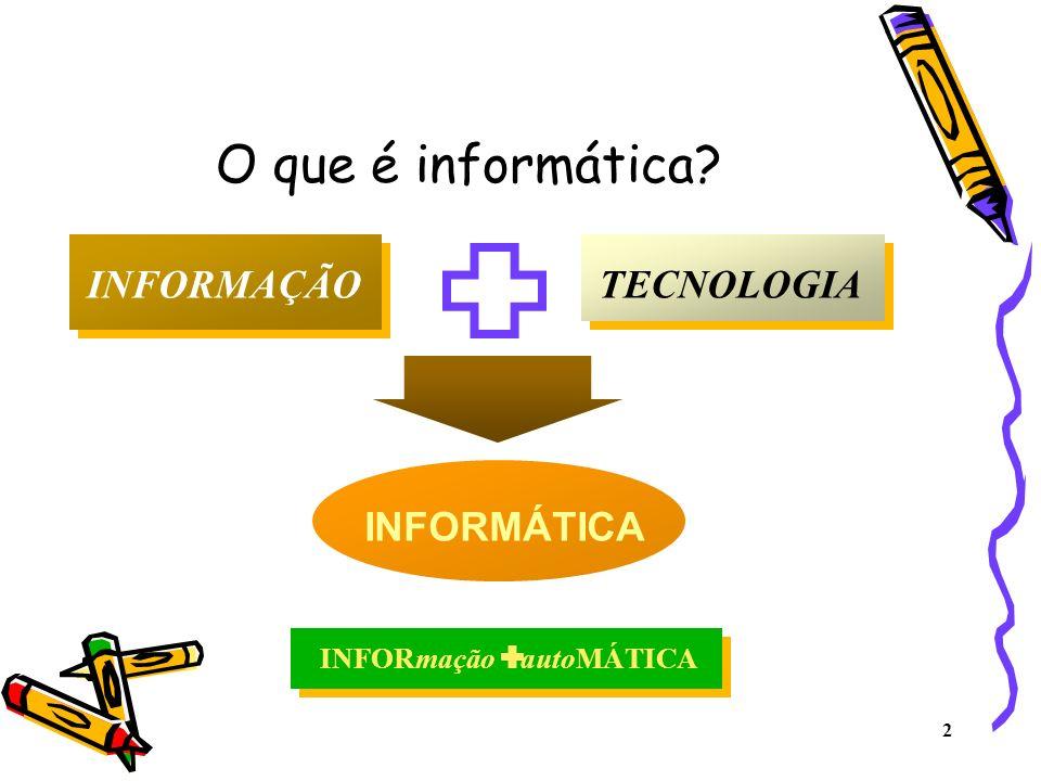 2 O que é informática? INFORMAÇÃOTECNOLOGIA INFORMÁTICA INFORmação autoMÁTICA