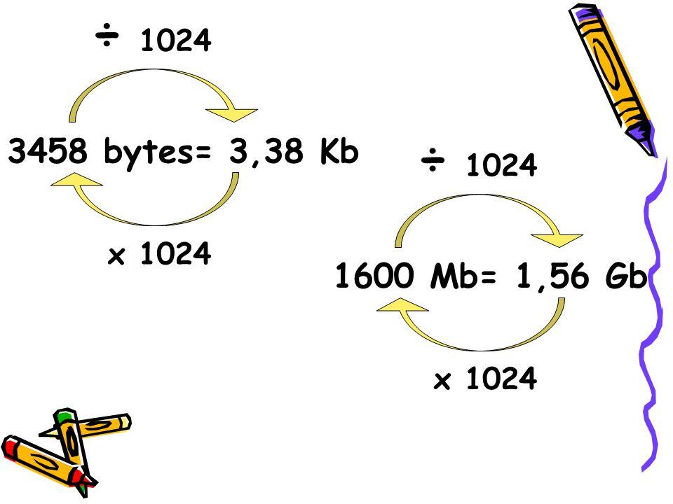 3458 bytes= 3,38 Kb x 1024 ÷ 1024 1600 Mb= 1,56 Gb x 1024 ÷ 1024