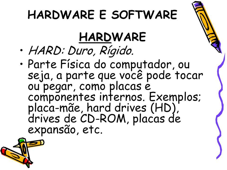 HARDWARE E SOFTWARE HARD HARDWARE HARD: Duro, Rígido. Parte Física do computador, ou seja, a parte que você pode tocar ou pegar, como placas e compone