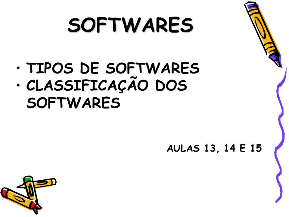 SOFTWARES TIPOS DE SOFTWARES CLASSIFICAÇÃO DOS SOFTWARES AULAS 13, 14 E 15