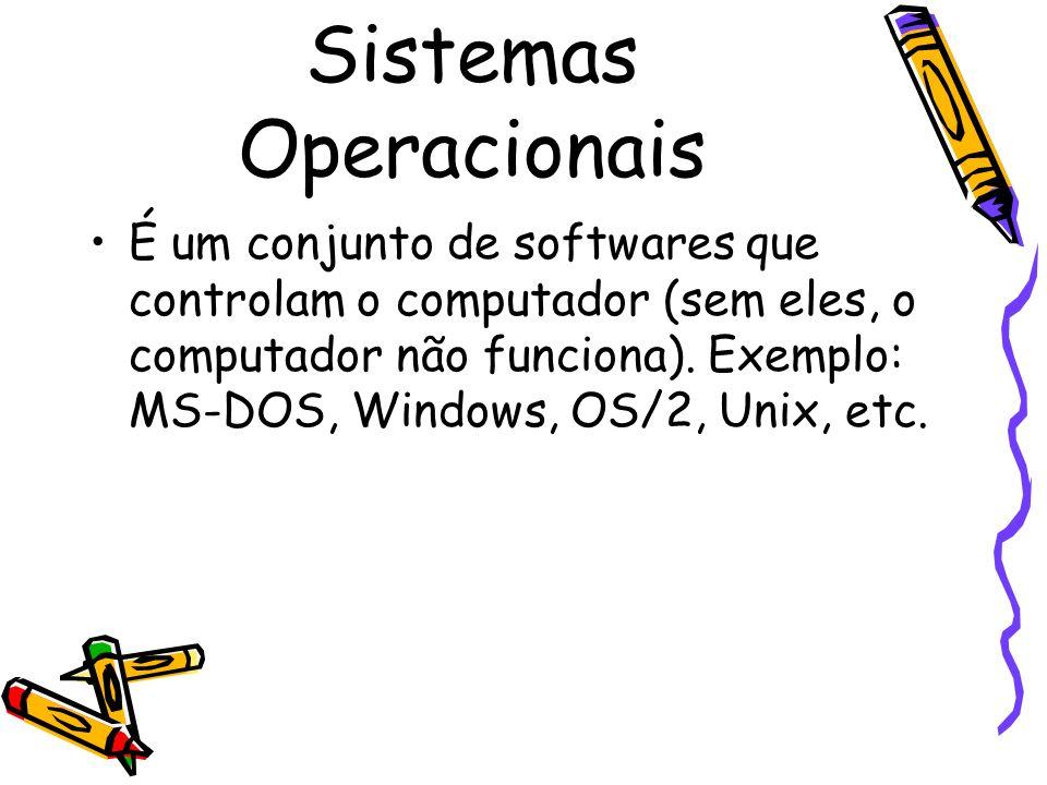 Sistemas Operacionais É um conjunto de softwares que controlam o computador (sem eles, o computador não funciona). Exemplo: MS-DOS, Windows, OS/2, Uni