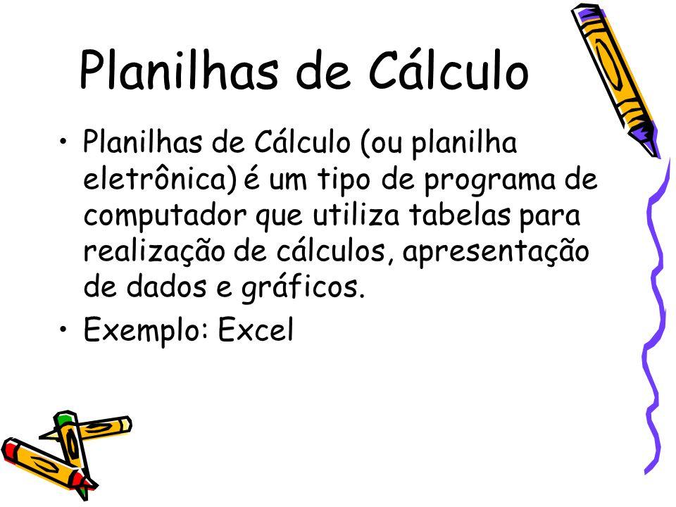 Planilhas de Cálculo Planilhas de Cálculo (ou planilha eletrônica) é um tipo de programa de computador que utiliza tabelas para realização de cálculos