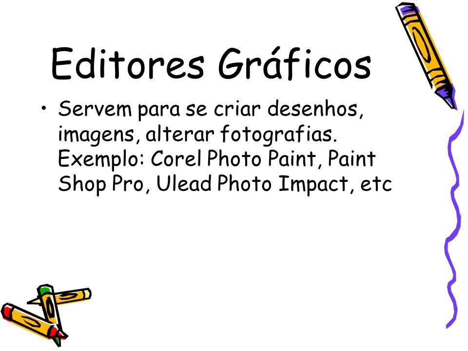 Editores Gráficos Servem para se criar desenhos, imagens, alterar fotografias. Exemplo: Corel Photo Paint, Paint Shop Pro, Ulead Photo Impact, etc