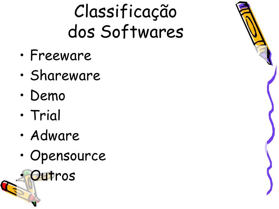 Classificação dos Softwares Freeware Shareware Demo Trial Adware Opensource Outros