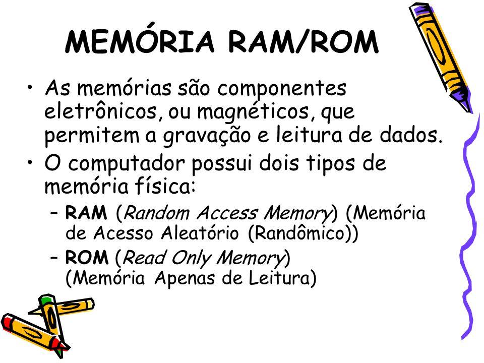 MEMÓRIA RAM/ROM As memórias são componentes eletrônicos, ou magnéticos, que permitem a gravação e leitura de dados. O computador possui dois tipos de