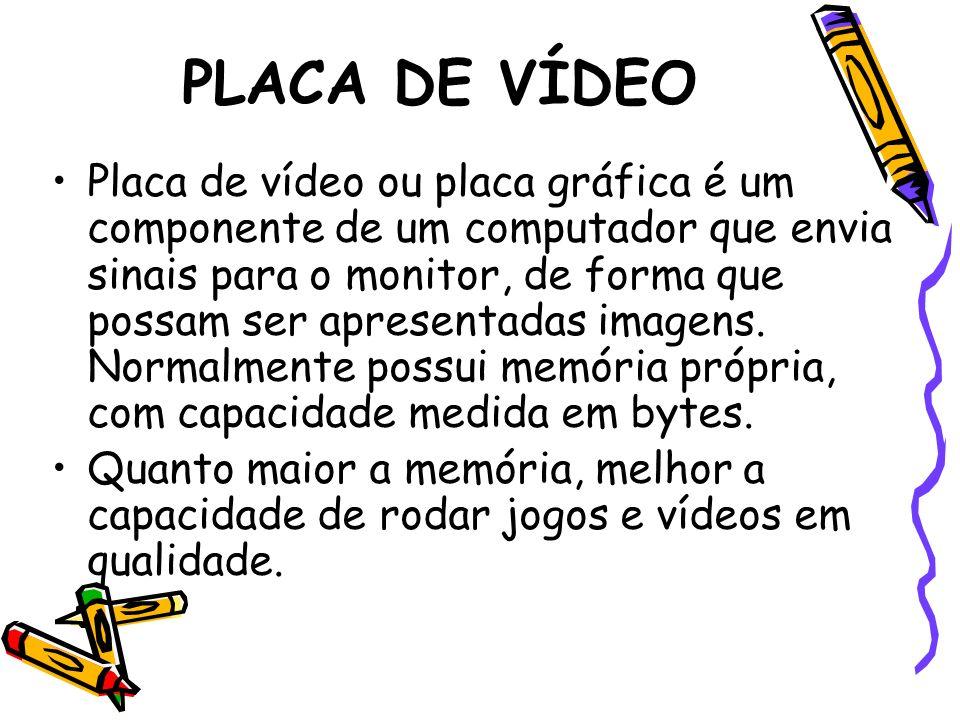 PLACA DE VÍDEO Placa de vídeo ou placa gráfica é um componente de um computador que envia sinais para o monitor, de forma que possam ser apresentadas