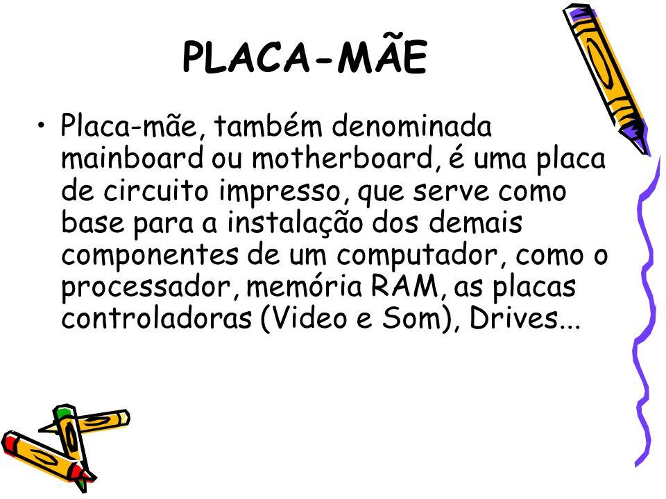 PLACA-MÃE Placa-mãe, também denominada mainboard ou motherboard, é uma placa de circuito impresso, que serve como base para a instalação dos demais co
