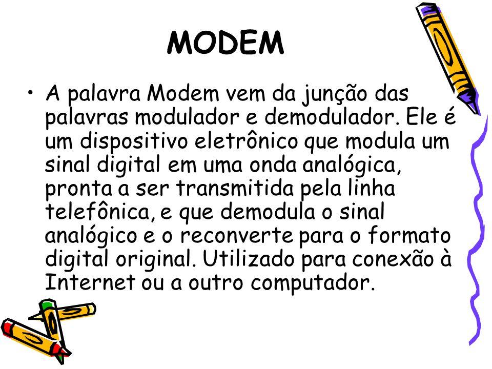 MODEM A palavra Modem vem da junção das palavras modulador e demodulador. Ele é um dispositivo eletrônico que modula um sinal digital em uma onda anal