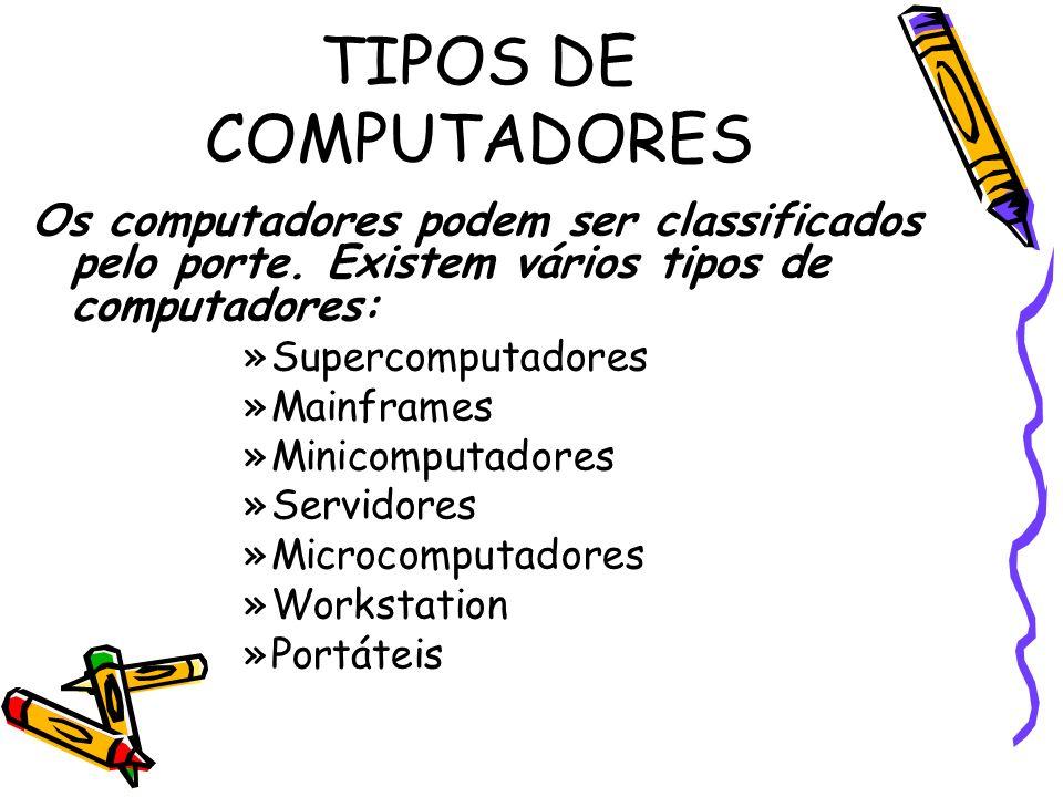 TIPOS DE COMPUTADORES Os computadores podem ser classificados pelo porte. Existem vários tipos de computadores: »Supercomputadores »Mainframes »Minico