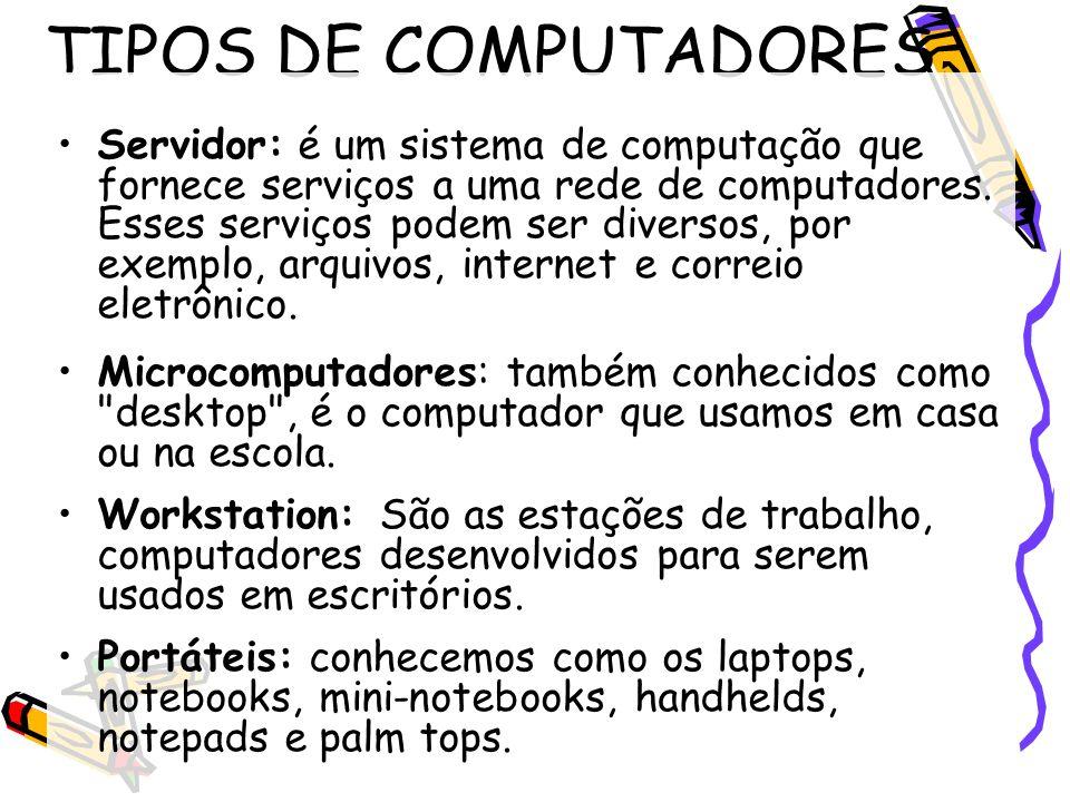 TIPOS DE COMPUTADORES Servidor: é um sistema de computação que fornece serviços a uma rede de computadores. Esses serviços podem ser diversos, por exe