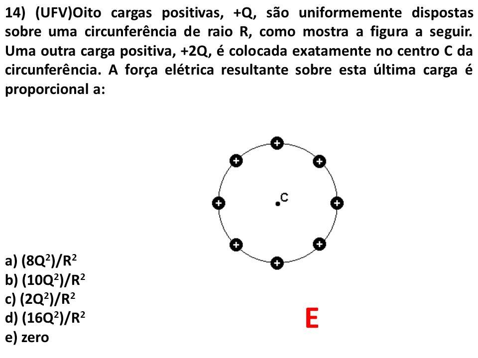 14) (UFV)Oito cargas positivas, +Q, são uniformemente dispostas sobre uma circunferência de raio R, como mostra a figura a seguir. Uma outra carga pos
