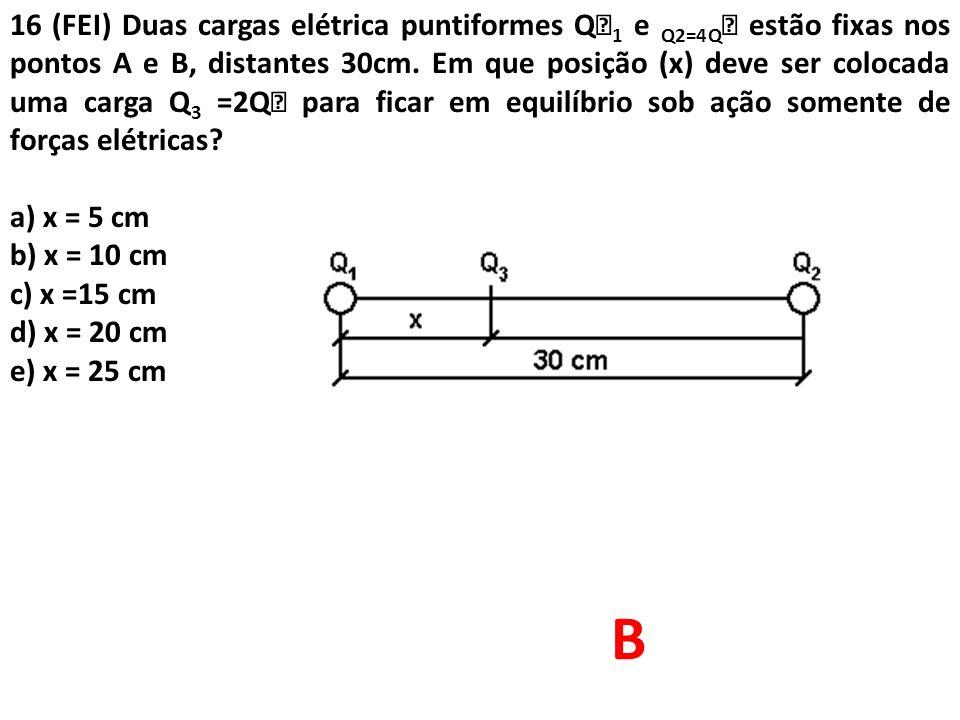 16 (FEI) Duas cargas elétrica puntiformes Q 1 e Q2=4Q  estão fixas nos pontos A e B, distantes 30cm. Em que posição (x) deve ser colocada uma carga