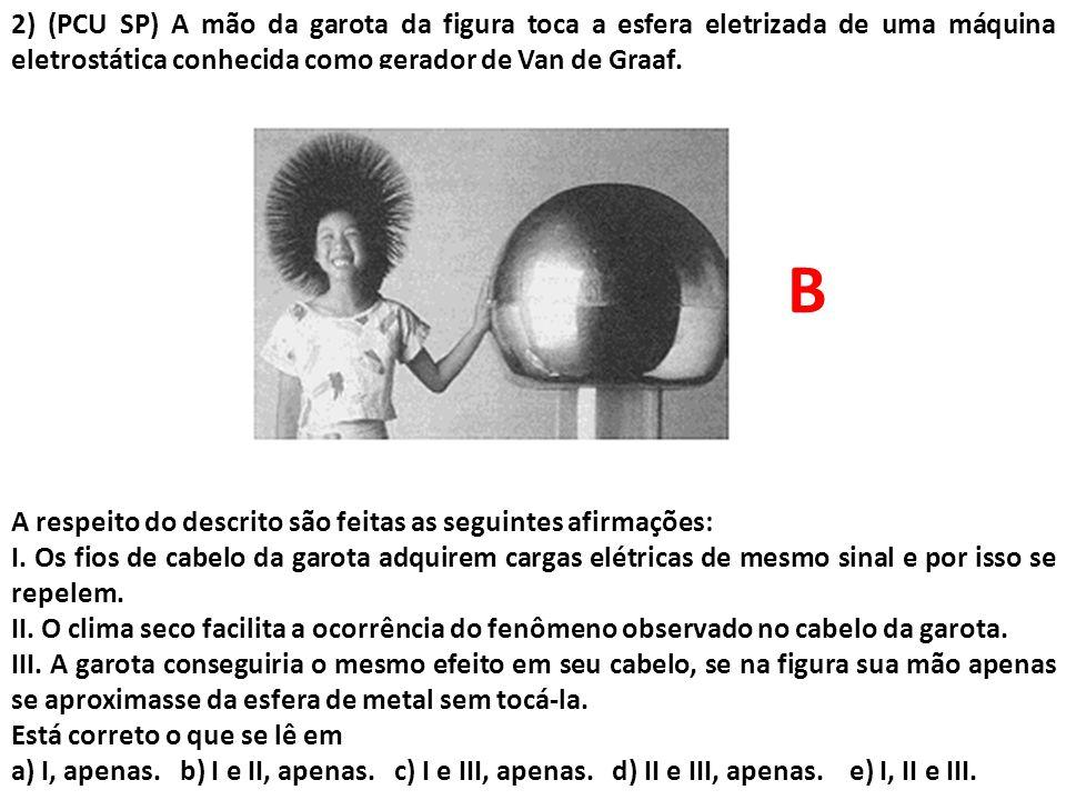 2) (PCU SP) A mão da garota da figura toca a esfera eletrizada de uma máquina eletrostática conhecida como gerador de Van de Graaf. A respeito do desc