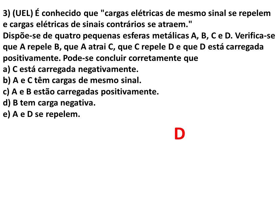 4) (UFSCAR) Atritando vidro com lã, o vidro se eletriza com carga positiva e a lã com carga negativa.