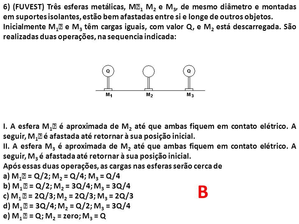 6) (FUVEST) Três esferas metálicas, M 1 M 2 e M 3, de mesmo diâmetro e montadas em suportes isolantes, estão bem afastadas entre si e longe de outros