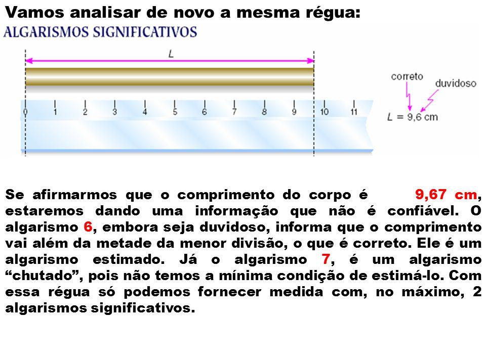 Vamos analisar de novo a mesma régua: Se afirmarmos que o comprimento do corpo é 9,67 cm, estaremos dando uma informação que não é confiável. O algari