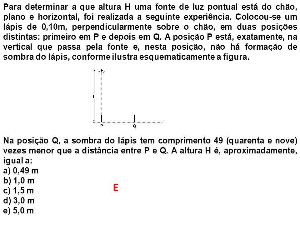 Para determinar a que altura H uma fonte de luz pontual está do chão, plano e horizontal, foi realizada a seguinte experiência. Colocou-se um lápis de