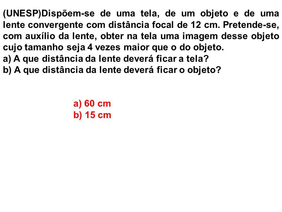 (UNESP)Dispõem-se de uma tela, de um objeto e de uma lente convergente com distância focal de 12 cm. Pretende-se, com auxílio da lente, obter na tela