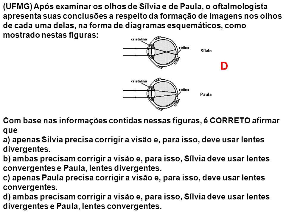 (UFMG) Após examinar os olhos de Sílvia e de Paula, o oftalmologista apresenta suas conclusões a respeito da formação de imagens nos olhos de cada uma
