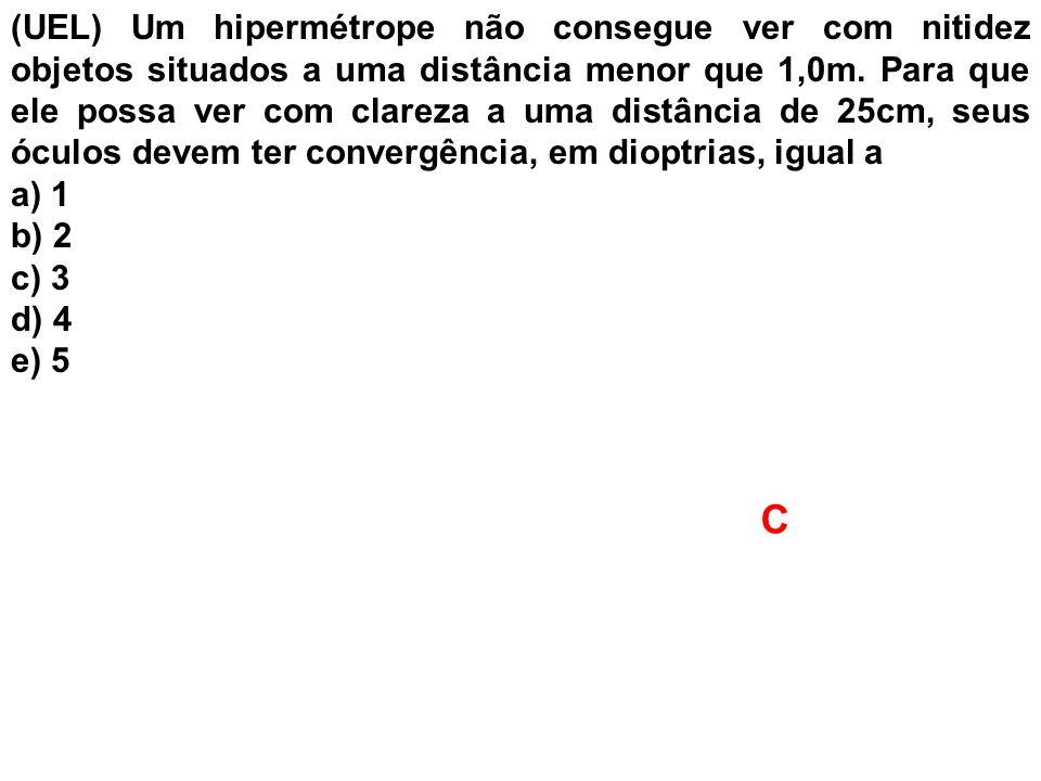 (UEL) Um hipermétrope não consegue ver com nitidez objetos situados a uma distância menor que 1,0m. Para que ele possa ver com clareza a uma distância