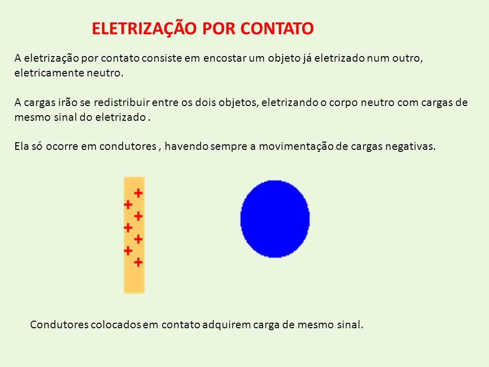 A eletrização por contato consiste em encostar um objeto já eletrizado num outro, eletricamente neutro. A cargas irão se redistribuir entre os dois ob