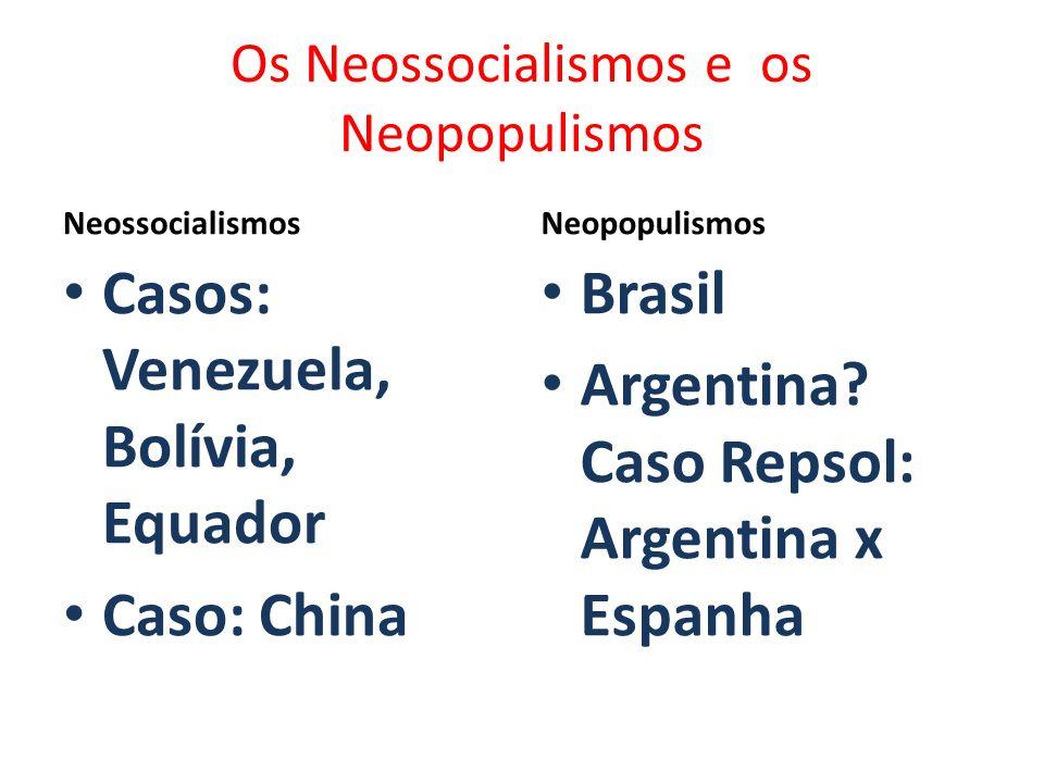 Os Neossocialismos e os Neopopulismos Neossocialismos Casos: Venezuela, Bolívia, Equador Caso: China Neopopulismos Brasil Argentina? Caso Repsol: Arge