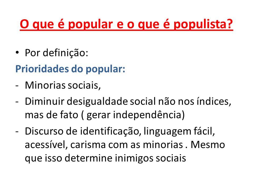 O que é popular e o que é populista? Por definição: Prioridades do popular: -Minorias sociais, -Diminuir desigualdade social não nos índices, mas de f