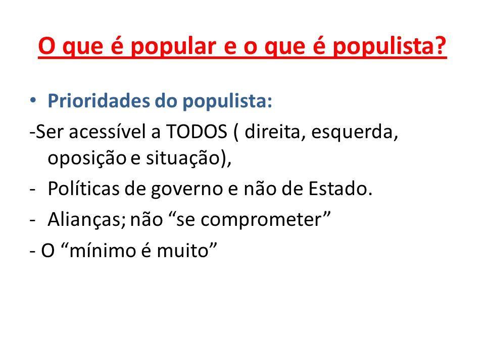 O que é popular e o que é populista? Prioridades do populista: -Ser acessível a TODOS ( direita, esquerda, oposição e situação), -Políticas de governo