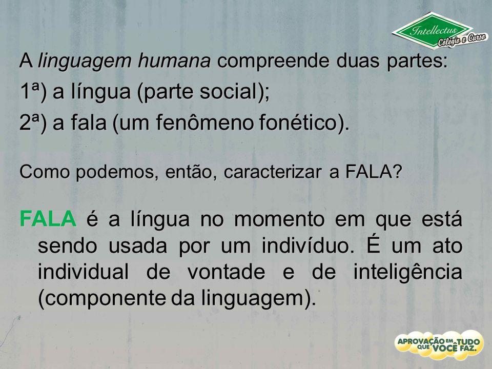 A linguagem humana compreende duas partes: 1ª) a língua (parte social); 2ª) a fala (um fenômeno fonético). Como podemos, então, caracterizar a FALA? F