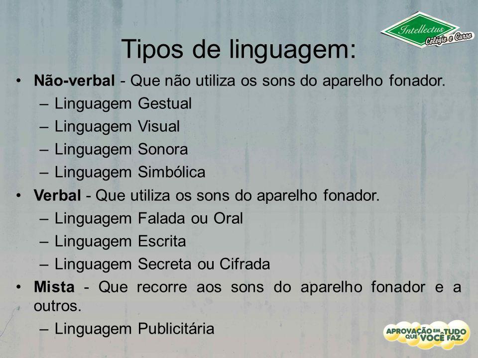Tipos de linguagem: Não-verbal - Que não utiliza os sons do aparelho fonador. –Linguagem Gestual –Linguagem Visual –Linguagem Sonora –Linguagem Simból