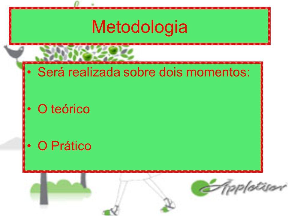 Metodologia Será realizada sobre dois momentos: O teórico O Prático