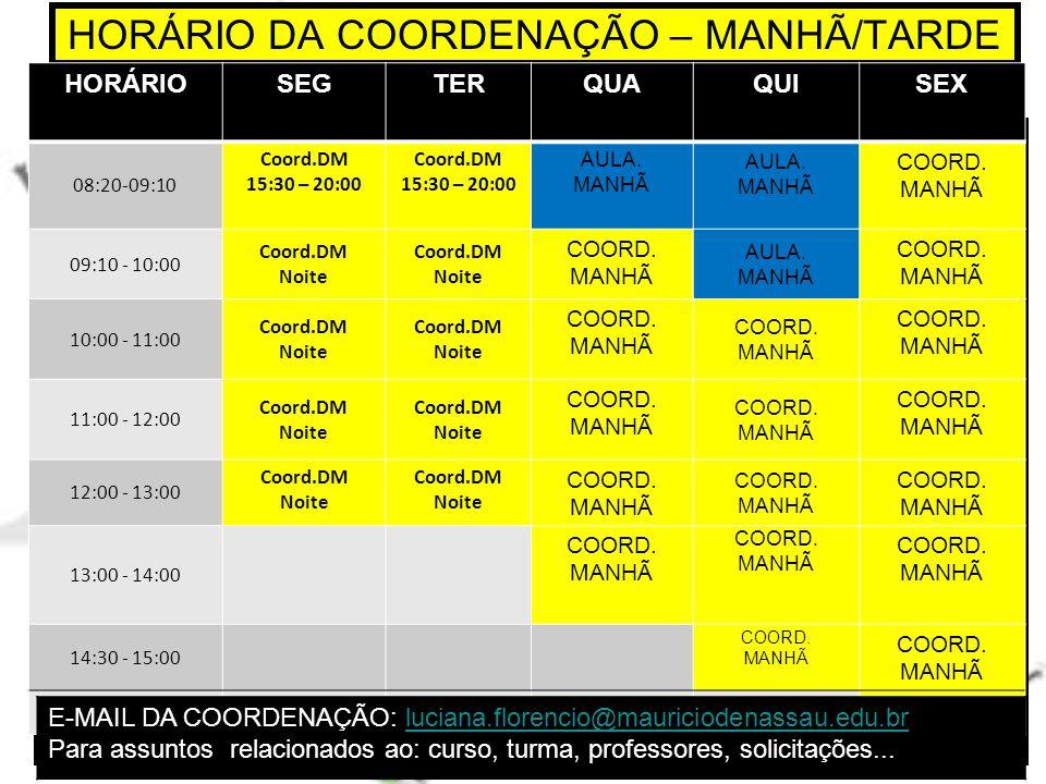 HORÁRIO DA COORDENAÇÃO – MANHÃ/TARDE HORÁRIOSEGTERQUAQUISEX 08:20-09:10 Coord.DM 15:30 – 20:00 Coord.DM 15:30 – 20:00 AULA.