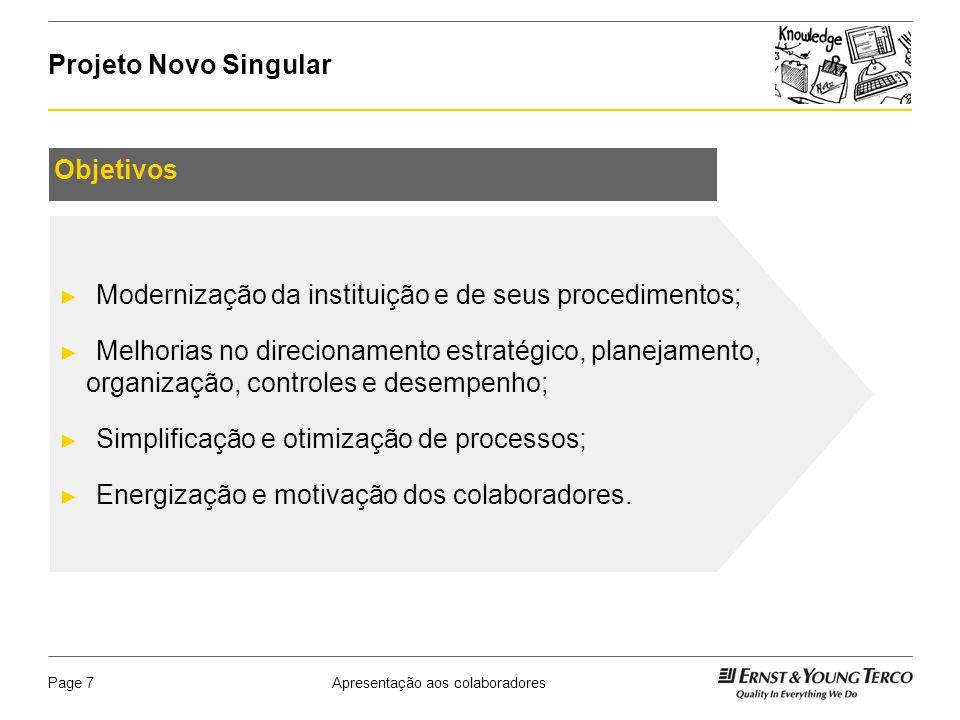 Apresentação aos colaboradoresPage 8 Projeto Novo Singular O projeto será dividido em diversas frentes, sendo que cada uma foi gerada a partir de um plano de ação definido no projeto anterior.