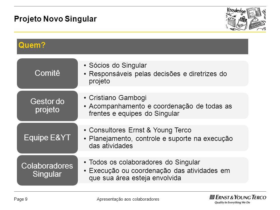 Apresentação aos colaboradoresPage 10 Projeto Novo Singular Quais benefícios o projeto trará para o dia a dia dos colaboradores do Singular.