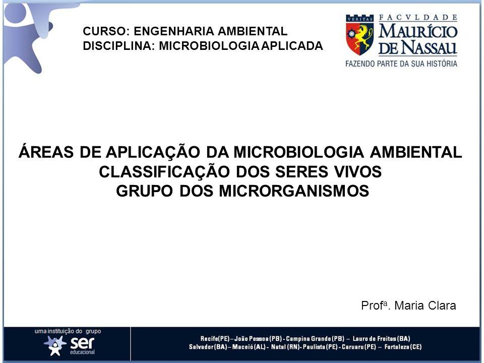 CURSO: ENGENHARIA AMBIENTAL DISCIPLINA: MICROBIOLOGIA APLICADA ÁREAS DE APLICAÇÃO DA MICROBIOLOGIA AMBIENTAL CLASSIFICAÇÃO DOS SERES VIVOS GRUPO DOS M