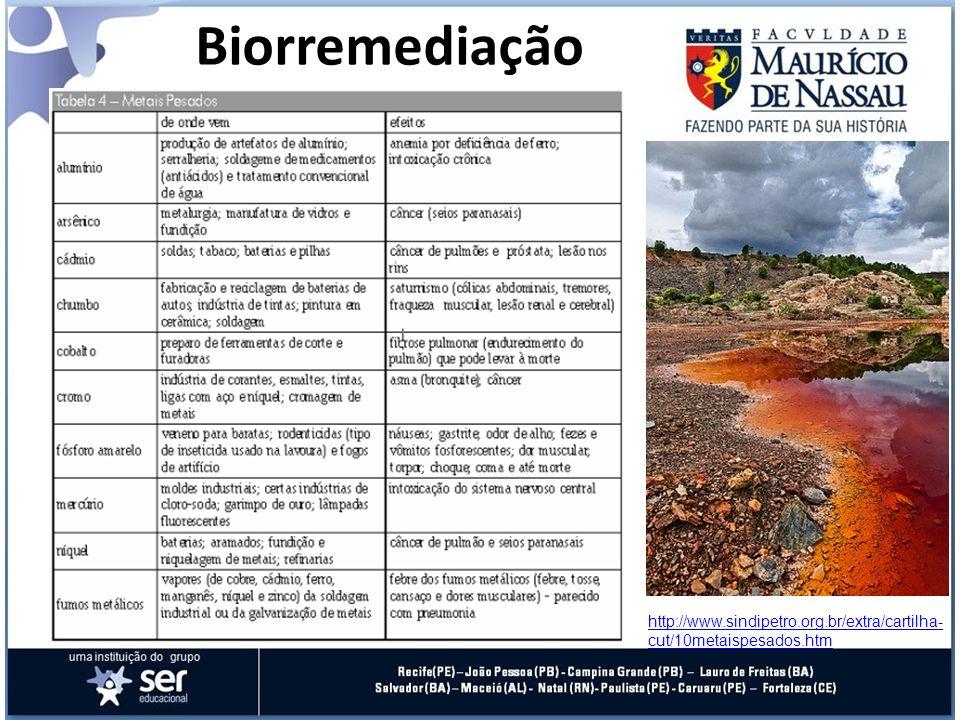 Biorremediação http://www.sindipetro.org.br/extra/cartilha- cut/10metaispesados.htm
