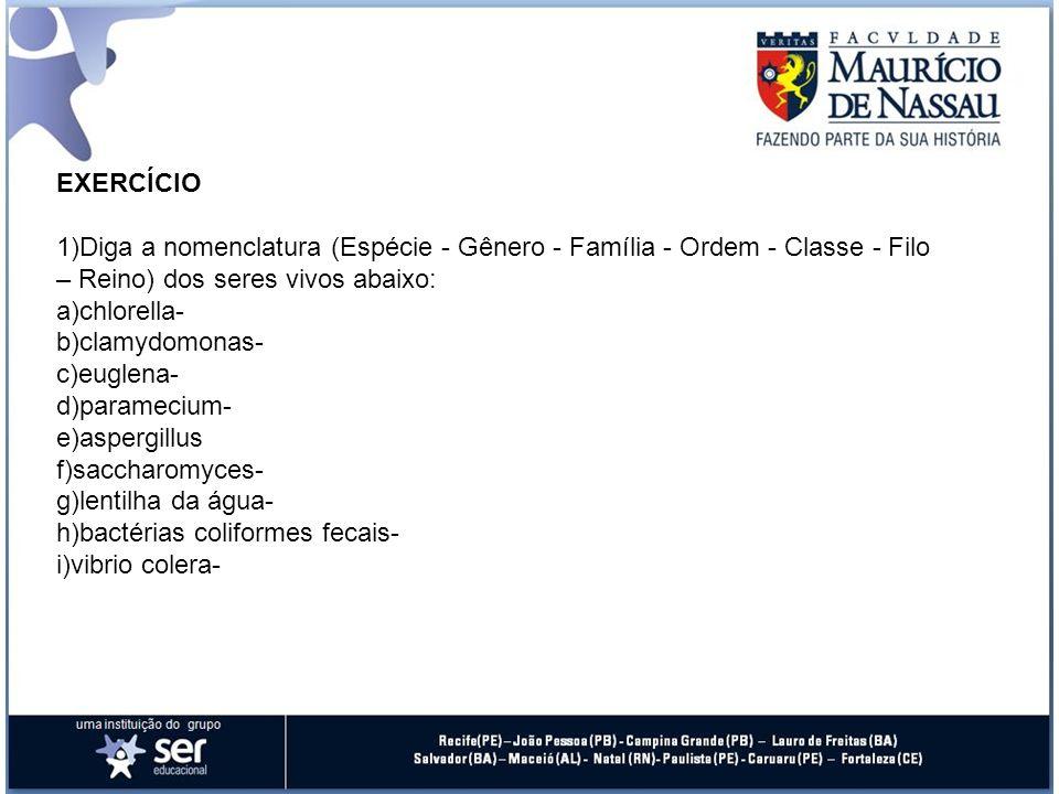 EXERCÍCIO 1)Diga a nomenclatura (Espécie - Gênero - Família - Ordem - Classe - Filo – Reino) dos seres vivos abaixo: a)chlorella- b)clamydomonas- c)eu