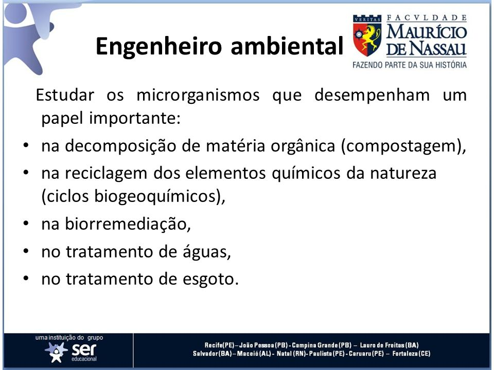Engenheiro ambiental Estudar os microrganismos que desempenham um papel importante: na decomposição de matéria orgânica (compostagem), na reciclagem d
