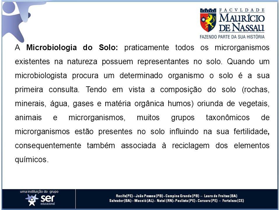 A Microbiologia do Solo: praticamente todos os microrganismos existentes na natureza possuem representantes no solo. Quando um microbiologista procura