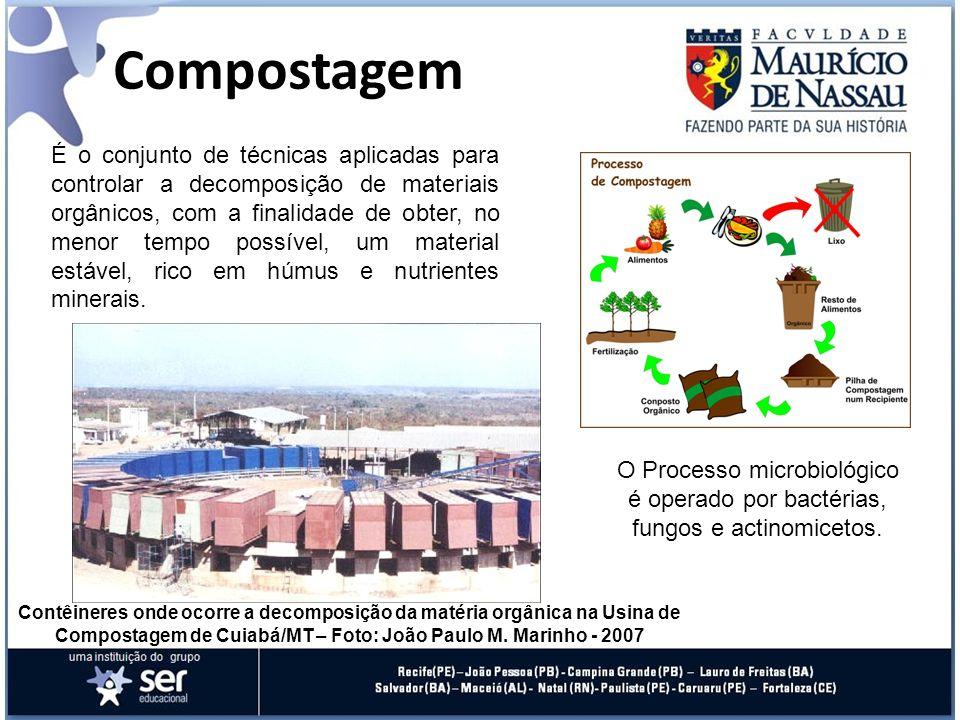 Compostagem Contêineres onde ocorre a decomposição da matéria orgânica na Usina de Compostagem de Cuiabá/MT – Foto: João Paulo M. Marinho - 2007 O Pro